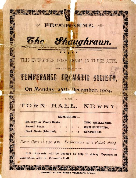 The Temperance Dramatic Society comprised members of the Dramatic Club in connection with the Pioneer Branch of the Sacred Heart Temperance League in Newry.  Newry and Mourne Museum Collection