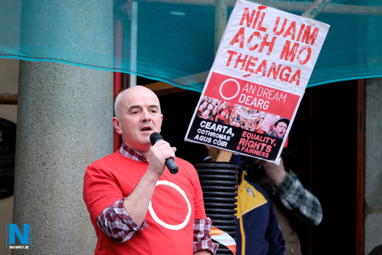 Dr Niall Comer, President of Conradh na Gaeilge pictured at 2017 An Dream Dearg demonstration for Irish Language rights in Newry. Photograph: Columba O'Hare