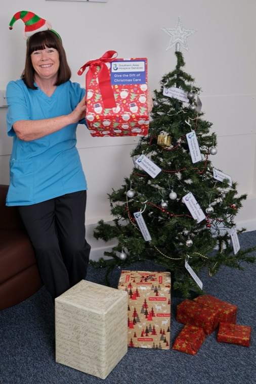 Pictured launching the Annual Southern Area Hospice Corporate Christmas Gift Appeal is staff member Angela Fegan. Angela and her colleagues will be working throughout the festive season continuing to provide Hospice care to patients and families. Southern Area Hospice Services are asking businesses to consider donating towards providing the gift of Hospice Care this Christmas through their Corporate Christmas Gift Appeal.