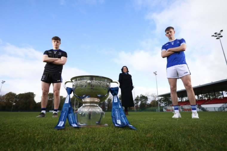 Pictured at the presentation of the Danske Bank MacRory Cup were from left: Ethan Doherty, captain of St Patrick's Maghera, Oonagh Murtagh, Danske Bank and Sean O'Hare, captain of St Colman's Newry.
