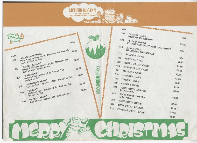 A price list dating from 1977 listing Christmas fayre. Many of the items listed were family favourites, made by McCann's year after year. Newry and Mourne Museum