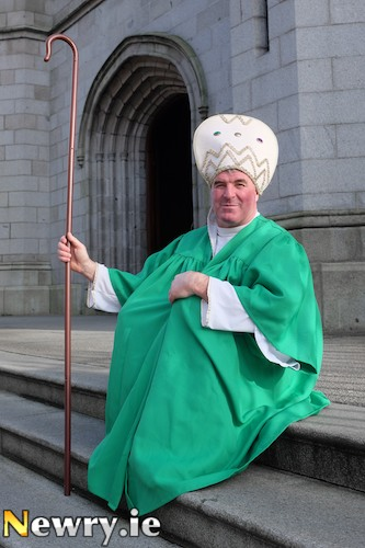 A very proud 'St Patrick' announces plans for this years St Patrick's Festival in Newry. Photograph: Columba O'Hare