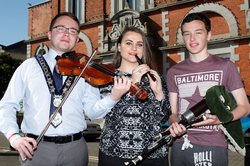 Looking forward to Iur Cinn Fleadh taking place in Newry from the 12th to the 14th of September. From left: Daire Hughes, Mayor, Newry and Mourne District Council; Martha Guiney, musician and Eamonn Burns, Oscail who are two of the many artists performing. Photograph: Columba O'Hare