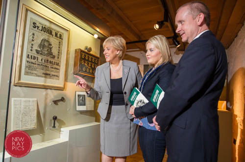 At the launch of the 2015  Famine Commemoration ,  Heather Humphreys, TD, Minister for Arts, Heritage and the Gaeltacht, Naomi Baillie. Chairperson, Newry, Mourne and Down District Council  and DCAL Permanent Secretary Denis McMahon, who represented Minister Ni Chuilin. . view the original Famine Ship poster from 1847  which describes the  departure of the  Famine Ship 'Lady Caroline' from Warrenpoint Harbour where thousands of emigrants left for Canada in mid 1840s..