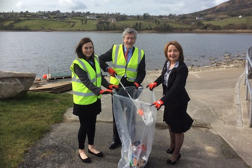 MLAs Mickey Brady and Megan Fearon with Councillor Roising Mulgrew getting ready for the Eater Monday community cleanup of Camlough Lake