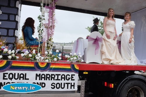 Last years Pride in Newry supporting equal marriage. Photograph: Columba O'Hare
