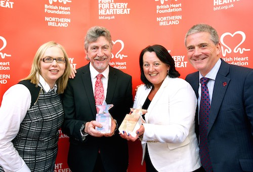 Mickey with BHF Public Affairs & Comms Manager Jayne Murray, CEO Simon Gillespie and fellow winner Paula Bradley MLA.