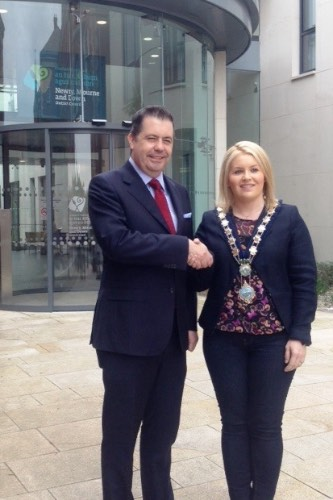 Cllr Naomi Bailie, Chairperson, Newry, Mourne and Down District Council  meets with Glyn Roberts, NIRTA.