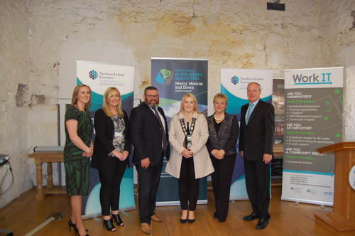 Pictured at the launch are from left: Sonya Burns (Newry, Mourne and Down District Council Programmes Manager); Carla Campbell (Network Personnel); Alastair Walker (Social Investment Fund); Cllr Naomi Bailie (Newry, Mourne and Down District Council Chairperson) and Hilary Singleton (Southern Zone Steering Group Chairperson); and Liam Hannaway - Newry, Mourne and Down District Council, Chief Executive).