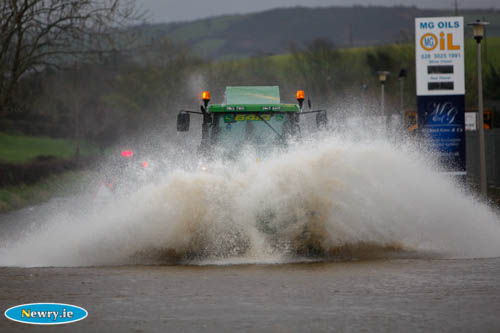 Flooding on the Hilltown Road, Newry. Photograph: Columba O'Hare
