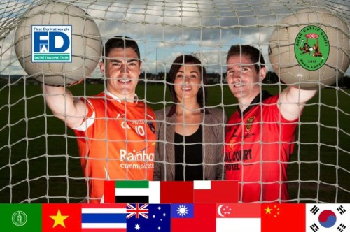 Down and Armagh Senior football panel members Caolan Rafferty (Financial Engineer) and Aidan Carr (Financial Engineer) join their First Derivatives colleague Louise Campbell (Global Marketing Executive) to announce the firm's sponsorship of the Asian GAA Games.