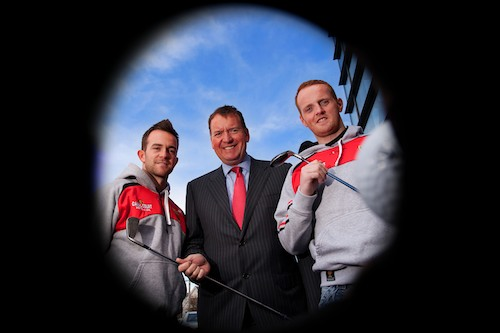 Pictured at the launch is Michael Blaney, Managing Director Autoline Insurance Group with Senior Down GAA Stars Mark Poland and Benny Coulter.