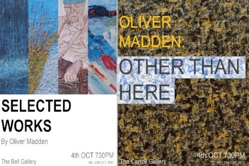 Oliver MAdden hosts an exhibition in the Arts Centre in October.
