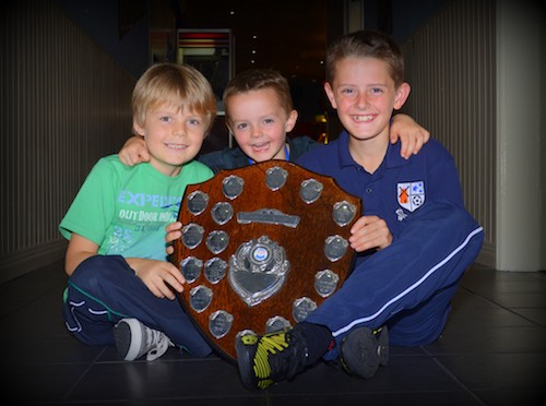 The McGovern Boys pictured with their cousin Jack at the Windmill Stars U11 presentation night at the Sheepbridge. Photograph: Brendan Monaghan.