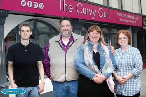 Shelly and Keven Sands with son Zach and Keven's mother Kay outside The Curvy Gurl in Sugar Island, Newry. Photograph: Columba O'Hare