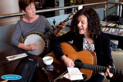 Marian McGauley and Fil Campbell play at the launch of Iur Cinn Fleadh in The Bank Bar. Photograph: Columba O'Hare