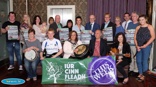 Gillian Fitzpatrick, Chairperson, Newry, Mourne and Down District Council, local councillors and business people with Iúr Cinn Fleadh musicians and Committee Members at the launch of Iúr Cinn Fleadh 2016 in The Bank Bar. Iúr Cinn Fleadh runs from this Thursday 8th to Sunday 11th September.