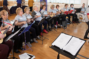 Members of Accolade Community Choir and Ukulele band, based in Newry and Banbridge, performing at the Community Foundation for Northern Ireland's 40th anniversary celebrations
