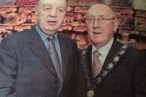 The late Danny Mcalinden, left, when he received his Sports award from Newry and Mourne Mayor John Feehan.