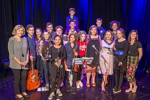 Newry, Mourne and Down District Council Chairperson, Councillor Roisin Mulgrew with USA and local music students after their Concert at the Sean Hollywood Arts Centre to mark the end of their Sister Cities Music Youth Exchange visit.