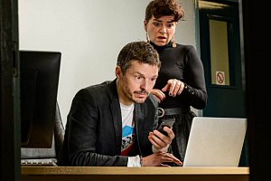 Maria Connolly and Richard Clements play characters, Lucy and Chris in bold new comedy, Dream, Sleep, Connect, that tackles the dark side of the computer age.