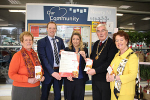 Tesco announce their sponsorship for Newry Drama Festival l-r Eileen Mooney Secretary, Graham Agnew Newry Tesco Store Manager, Shelagh Smyth Community Champion, Gerry McNulty Chairperson, Maureen Grant P.R.O. The 2016 Drama Festival will take place in Warrenpoint Town Hall Friday 11th March until Saturday 19th March nightly at 7.30 pm.