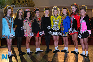 Medal winners in Irish Dancing (Confined) at Newry Musical Feis. From left Tara Reilly, Anna May McGuinness, Kylah Kearney, Cara Sloan, Caoimhe McGrath, Aine Doran, Amy Strain, Maria McKernan and Caitlin Hughes. Photograph: Columba O'Hare/ Newry.ie