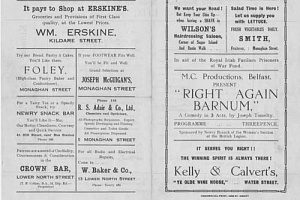 The programme for the Play Right Again Barnum staged in Newry in the 1940's with renowned Comedian James Young on the cast.