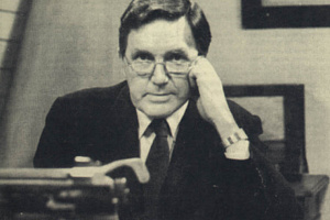 Frank Hall in typical pose as Editor (and Presenter) of RTE's Hall's Pictorial Weekly. Best remembered for its satirical outlook on political life, the programme ran for 250 episodes from 1969 - 1980.  Courtesy of Don Hall