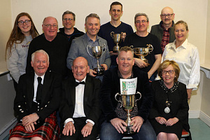Prosperous Dramatic Society took the Premier Award at Newry Drama Festival 2019 as well as Best Actor, Best Supporting Actor and Best Lighting. Included front from left: Brian Marjoribanks, Adjudicator; Charlie Smyth, President, Newry Drama Festival; T.J Duggan, Director, Prosperous Dramatic Society and Maire Donaghey, Chairperson, Newry Drama Festival. Back from left: Prosperous Dramatic Society members Roisin Gorman, Malcolm Taylor, Neil McFadden, Robert Massey, Gerard O'Shea, Ciaran Healy, Connie Bordick, Marie Houlihan.