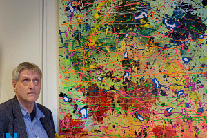 Patrick Conyngham at the launch of his exhibition in the Sean Hollywood Arts Centre, Newry. Photograph: Columba O'Hare/ Newry.ie