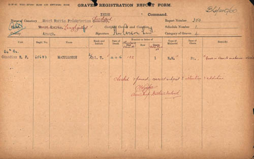 Lance Corporal McCullough's grave registration. (Commonwealth War Graves Commission)