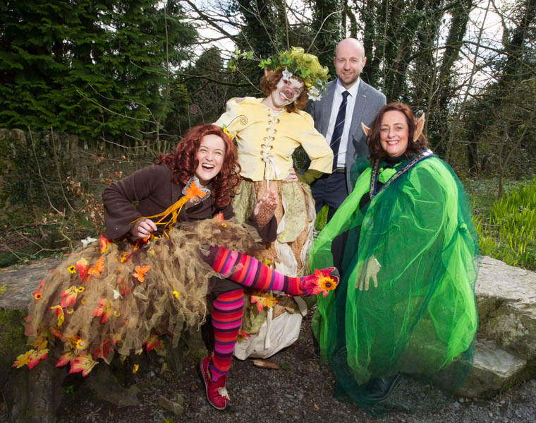 Council Chairperson, Councillor Gillian Fitzpatrick and Andy Patterson from Tourism NI launch this year's Footsteps in the Forest at Slieve Gullion Forest Park in the company of mythical characters from the enchanted forest.