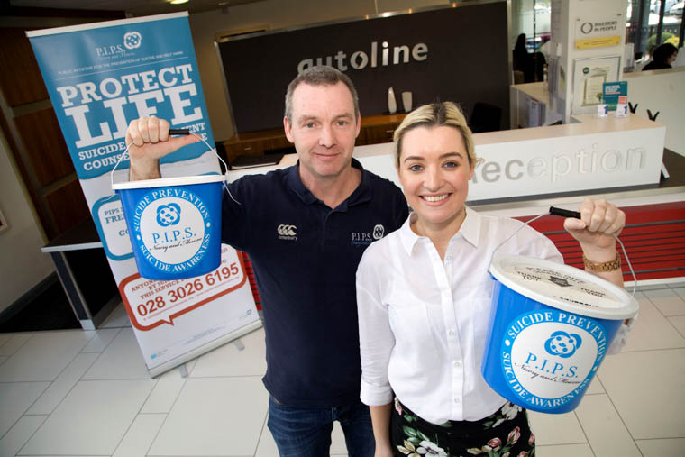 Pictured launching the Charity Partnership for 2017 are Eamon Murphy, P.I.P.S Fundraising Projects Officer, and Evanna Kieran, Marketing Executive, Autoline Insurance Group.
