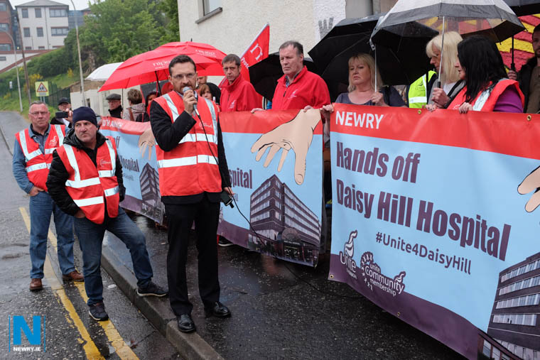 Donal O'Cofaigh speaking on behalf of Unite the Union at the unveiling of a Save Daisy Hill mural in Catherine Street in Newry. Photograph: Columba O'Hare
